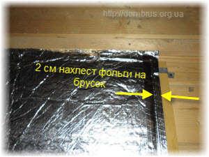 Использование фольгированной ваты для защиты сруба. Фото