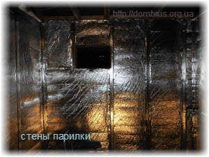 Стены парилки отделанные фольгой. Фото