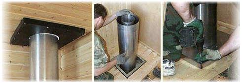 Конструкция переходника в потолке парной комнаты в бане или сауне. Фото