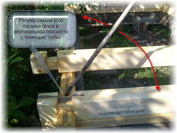 Монтаж профилированного бруса в срубе. Фото
