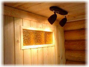 Устройство подсветки в сауне и бане. Фото