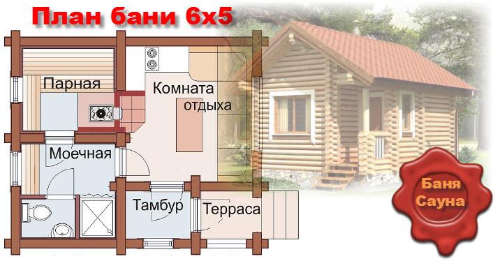 План бани  6х5. Проект 5х6. Фото