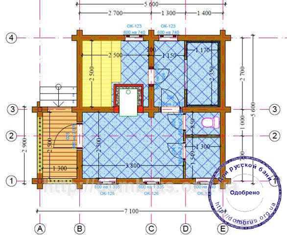 Проект бани 6 х 7. План