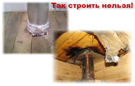 Проход трубы через потолок в бане. Фото