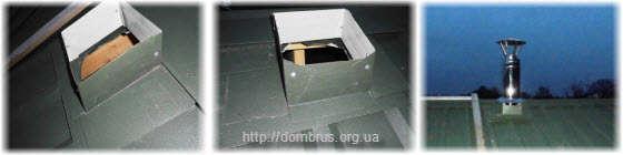 Монтаж узла прохода печной трубы через крышу. Фото