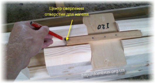 Разметка центра отверстия для нагеля