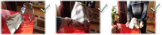 шапка для бани и сауны. Увеличение размера растягиванием. Фото