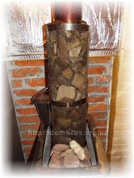Сетка-каменка на трубе печи в бане